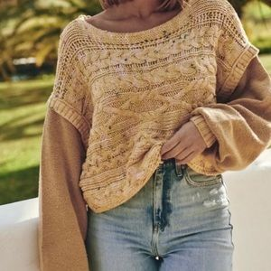 Free People   🍯 Honey Cable Pullover